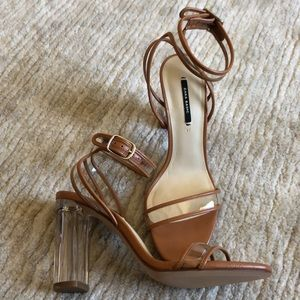 Zara tan and clear heel